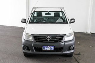 2014 Toyota Hilux TGN16R MY14 Workmate 4x2 Glacier White 5 Speed Manual Cab Chassis.