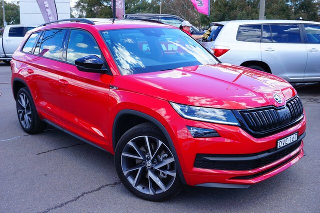 Used Skoda Kodiaq NS MY18.5 132TSI DSG Sportline, 2018 Skoda Kodiaq NS MY18.5 132TSI DSG Sportline Red 7 Speed Sports Automatic Dual Clutch Wagon
