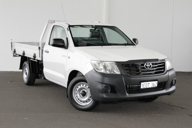 Used Toyota Hilux TGN16R MY14 Workmate 4x2, 2014 Toyota Hilux TGN16R MY14 Workmate 4x2 Glacier White 5 Speed Manual Cab Chassis