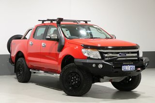 2013 Ford Ranger PX XLT 3.2 (4x4) Red 6 Speed Manual Dual Cab Utility.