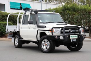 2014 Toyota Landcruiser VDJ79R GXL Double Cab White 5 Speed Manual Cab Chassis.