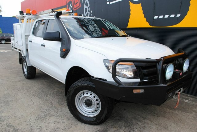 Used Ford Ranger PX XL Double Cab, 2013 Ford Ranger PX XL Double Cab Cool White 6 Speed Sports Automatic Cab Chassis