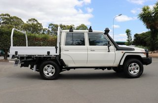 2014 Toyota Landcruiser VDJ79R GXL Double Cab White 5 Speed Manual Cab Chassis