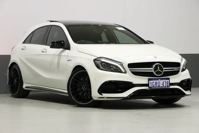 Used Mercedes-Benz A45 176 MY15 AMG, 2016 Mercedes-Benz A45 176 MY15 AMG Cirrus White 7 Speed Auto Dual Clutch Hatchback