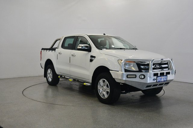 Used Ford Ranger PX XLT Double Cab, 2012 Ford Ranger PX XLT Double Cab Cool White 6 Speed Sports Automatic Utility