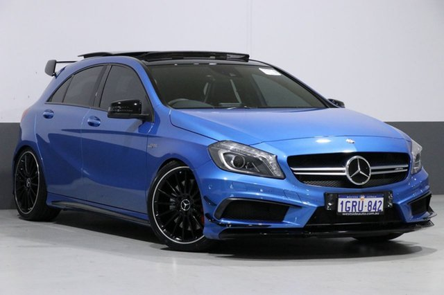 Used Mercedes-Benz A45 176 MY15 AMG, 2015 Mercedes-Benz A45 176 MY15 AMG Blue 7 Speed Auto Dual Clutch Hatchback