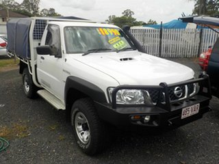 2008 Nissan Patrol GU MY08 DX (4x4) White 5 Speed Manual Leaf Cab Chassis.