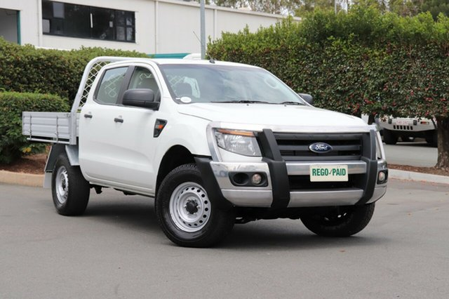 Used Ford Ranger PX XL Double Cab, 2014 Ford Ranger PX XL Double Cab Cool White 6 Speed Sports Automatic Cab Chassis