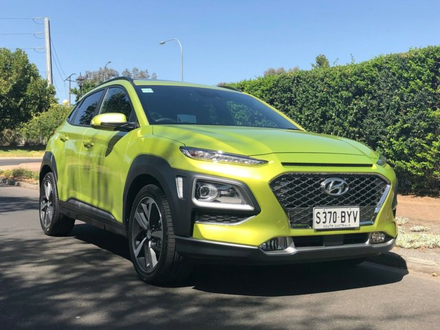 Demo Hyundai Kona OS.2 MY19 Highlander 2WD, 2018 Hyundai Kona OS.2 MY19 Highlander 2WD Acid Yellow 6 Speed Sports Automatic Wagon