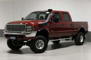 2005 Ford F250 RN XLT (4x4) Red 4 Speed Automatic Crew Cab Pickup.