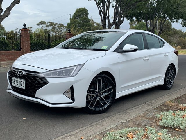 Demo Hyundai Elantra AD.2 MY19 Sport DCT, 2018 Hyundai Elantra AD.2 MY19 Sport DCT Polar White 7 Speed Sports Automatic Dual Clutch Sedan