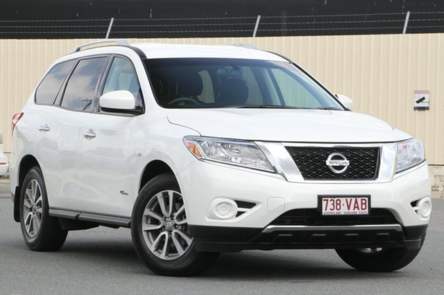Used Nissan Pathfinder R52 MY14 ST X-tronic 2WD, 2014 Nissan Pathfinder R52 MY14 ST X-tronic 2WD Alpine White 1 Speed Constant Variable Wagon Hybrid