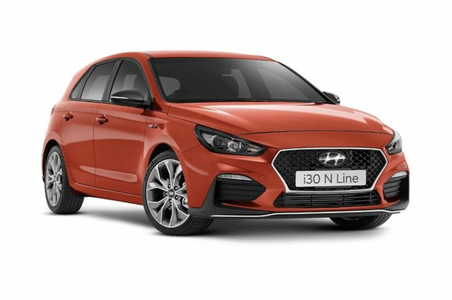 Demo Hyundai i30 PD.3 MY19 N Line D-CT, 2018 Hyundai i30 PD.3 MY19 N Line D-CT Lava Orange 7 Speed Sports Automatic Dual Clutch Hatchback