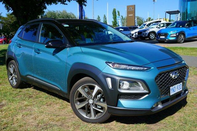 Demo Hyundai Kona OS.2 MY19 Highlander 2WD, 2018 Hyundai Kona OS.2 MY19 Highlander 2WD Ceramic Blue & Phantom Black Roof 6 Speed