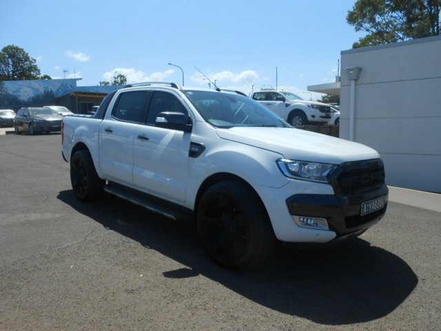 Used Ford Ranger PX MkII Wildtrak Double Cab, 2015 Ford Ranger PX MkII Wildtrak Double Cab Cool White 6 Speed Sports Automatic Utility