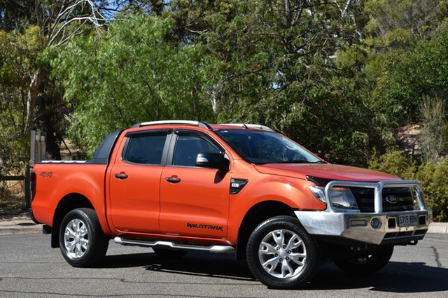 Used Ford Ranger PX Wildtrak Double Cab, 2014 Ford Ranger PX Wildtrak Double Cab Chilli Orange 6 Speed Sports Automatic Utility