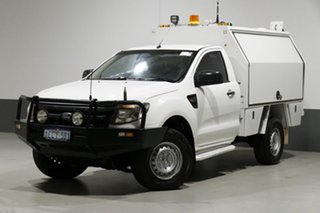 2013 Ford Ranger PX XL 3.2 (4x4) White 6 Speed Manual Cab Chassis.