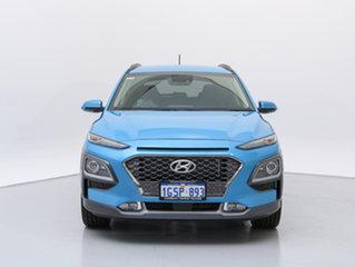 2018 Hyundai Kona OS Highlander (AWD) Blue Lagoon 7 Speed Auto Dual Clutch Wagon.