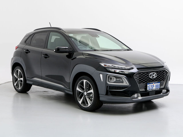 Demo Hyundai Kona OS Highlander TTR (AWD), 2018 Hyundai Kona OS Highlander TTR (awd) Phantom Black 7 Speed Auto Dual Clutch Wagon