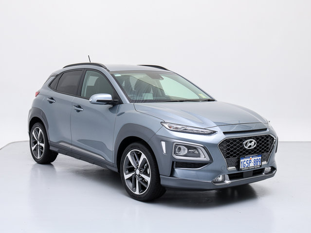 Demo Hyundai Kona OS Highlander (AWD), 2018 Hyundai Kona OS Highlander (AWD) Lake Silver 7 Speed Auto Dual Clutch Wagon