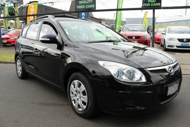 Used Hyundai i30 FD MY11 SX cw Wagon West Footscray, 2010 Hyundai i30 FD MY11 SX cw Wagon Black 4 Speed Automatic Wagon