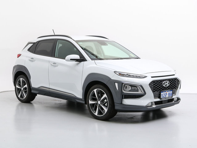 Demo Hyundai Kona OS Highlander (AWD), 2018 Hyundai Kona OS Highlander (AWD) Chalk White 7 Speed Auto Dual Clutch Wagon