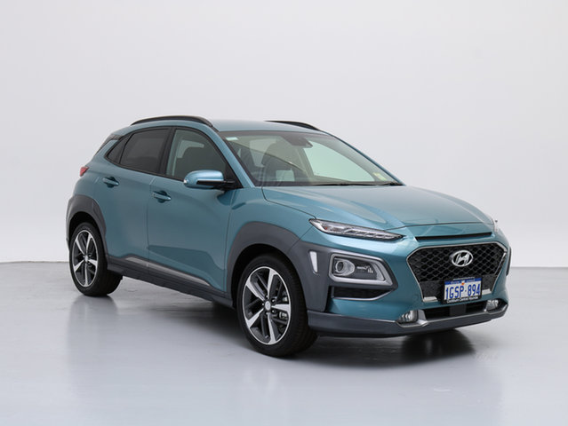 Demo Hyundai Kona OS Highlander (AWD), 2018 Hyundai Kona OS Highlander (AWD) Ceramic Blue 7 Speed Auto Dual Clutch Wagon