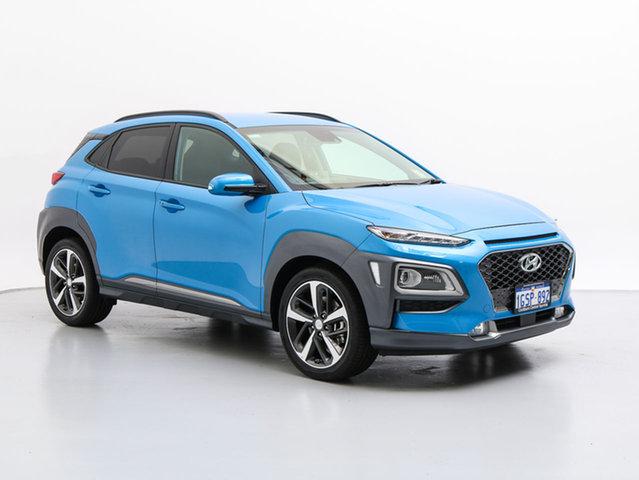 Demo Hyundai Kona OS Highlander (AWD), 2018 Hyundai Kona OS Highlander (AWD) Blue Lagoon 7 Speed Auto Dual Clutch Wagon