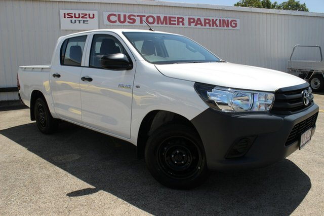 Used Toyota Hilux TGN121R Workmate Double Cab 4x2, 2017 Toyota Hilux TGN121R Workmate Double Cab 4x2 White 5 Speed Manual Utility