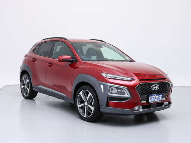 Demo Hyundai Kona OS Highlander RED (AWD), 2018 Hyundai Kona OS Highlander RED (awd) Pulse Red 7 Speed Auto Dual Clutch Wagon