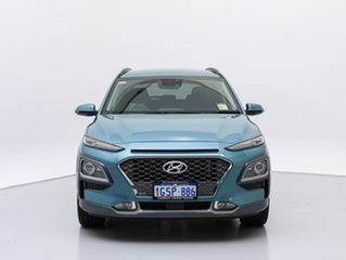 2018 Hyundai Kona OS Highlander (AWD) Ceramic Blue 7 Speed Auto Dual Clutch Wagon.