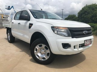 2012 Ford Ranger PX XL Double Cab White 6 Speed Manual Cab Chassis.