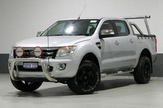 2012 Ford Ranger PX XLT 3.2 (4x4) Silver 6 Speed Manual Dual Cab Utility.
