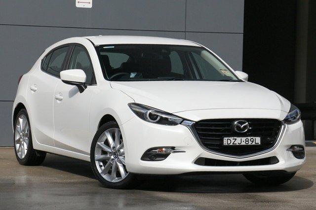 Demo Mazda 3 BN5438 SP25 SKYACTIV-Drive GT, 2018 Mazda 3 BN5438 SP25 SKYACTIV-Drive GT Snowflake White 6 Speed Sports Automatic Hatchback