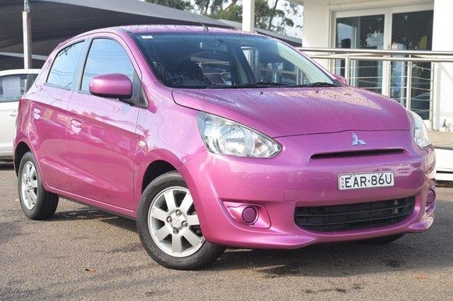 Used Mitsubishi Mirage LA LS, 2013 Mitsubishi Mirage LA LS Pink 5 Speed Manual Hatchback