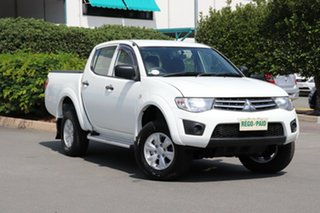 2013 Mitsubishi Triton MN MY14 GLX Double Cab White 4 Speed Sports Automatic Utility.