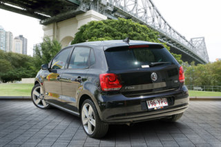2012 Volkswagen Polo 6R MY12.5 77TSI Comfortline Black 6 Speed Manual Hatchback.