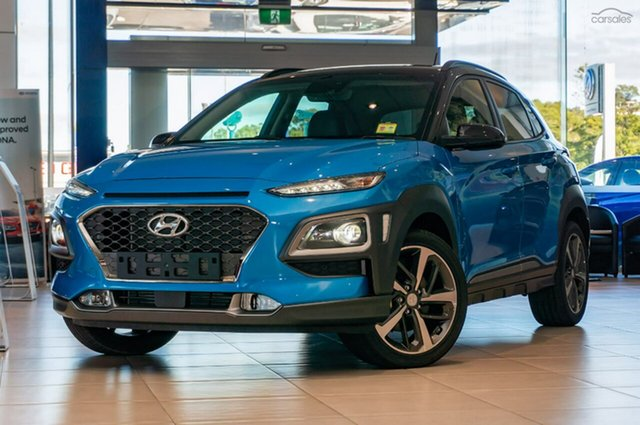 Demo Hyundai Kona OS.2 MY19 Highlander D-CT AWD, 2018 Hyundai Kona OS.2 MY19 Highlander D-CT AWD Blue Lagoon 7 Speed Sports Automatic Dual Clutch