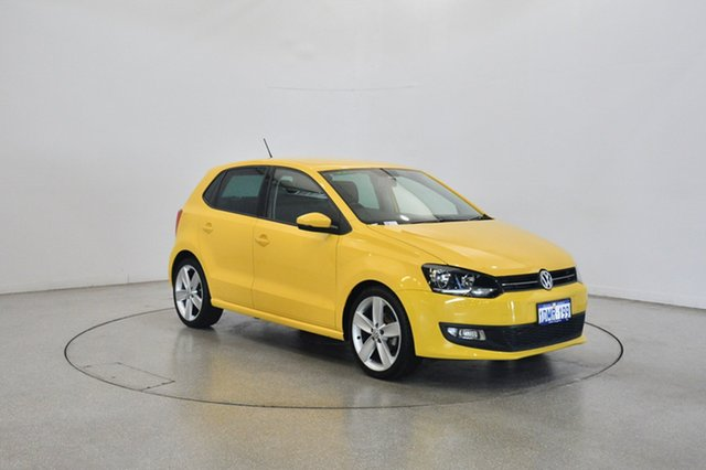 Used Volkswagen Polo 6R 77TSI DSG Comfortline, 2010 Volkswagen Polo 6R 77TSI DSG Comfortline Yellow 7 Speed Sports Automatic Dual Clutch Hatchback