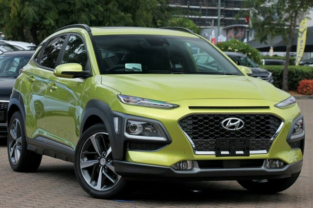 New Hyundai Kona OS.2 MY19 Highlander 2WD, 2018 Hyundai Kona OS.2 MY19 Highlander 2WD Acid Yellow 6 Speed Sports Automatic Wagon