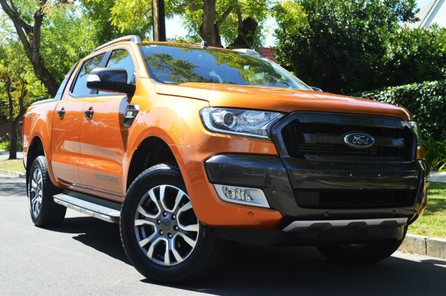 Used Ford Ranger PX MkII 2018.00MY Wildtrak Double Cab, 2017 Ford Ranger PX MkII 2018.00MY Wildtrak Double Cab Orange 6 Speed Sports Automatic Utility