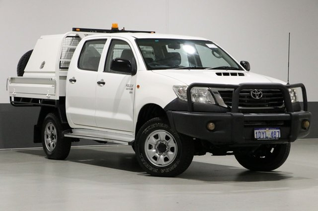 Used Toyota Hilux KUN26R MY12 SR (4x4), 2012 Toyota Hilux KUN26R MY12 SR (4x4) White 5 Speed Manual Dual Cab Chassis