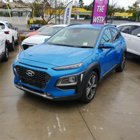 New Hyundai Kona OS MY18 Highlander 2WD, 2018 Hyundai Kona OS MY18 Highlander 2WD Blue Lagoon 6 Speed Sports Automatic Wagon