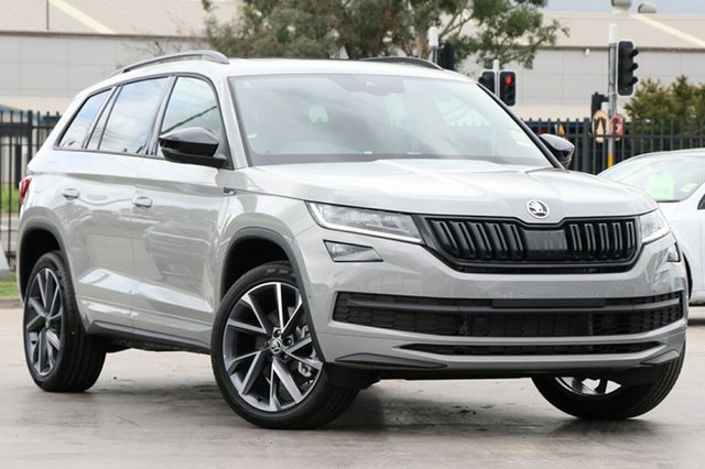 New Skoda Kodiaq NS MY21 132TSI DSG Sportline Parramatta, 2021 Skoda Kodiaq NS MY21 132TSI DSG Sportline Steel Grey 7 Speed Sports Automatic Dual Clutch Wagon