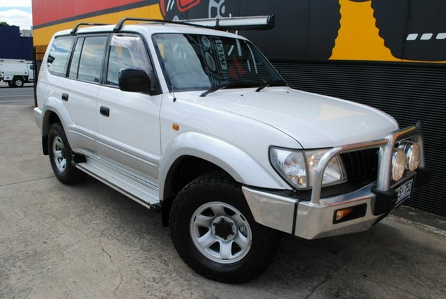 Used Toyota Landcruiser Prado KZJ95R GXL, 2001 Toyota Landcruiser Prado KZJ95R GXL Powder White 5 Speed Manual Wagon