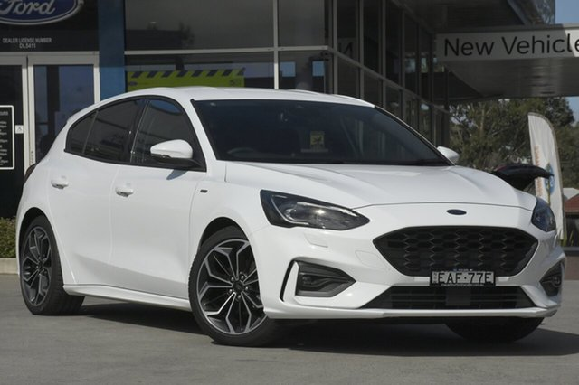 Demo Ford Focus SA 2019MY ST-Line, 2018 Ford Focus SA 2019MY ST-Line Frozen White 8 Speed Automatic Hatchback