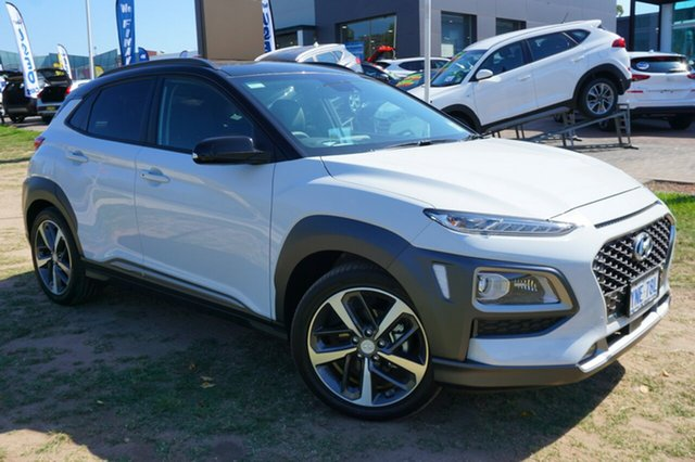 Demo Hyundai Kona OS.2 MY19 Highlander 2WD, 2018 Hyundai Kona OS.2 MY19 Highlander 2WD Chalk White & Phantom Black Roof 6 Speed Sports Automatic