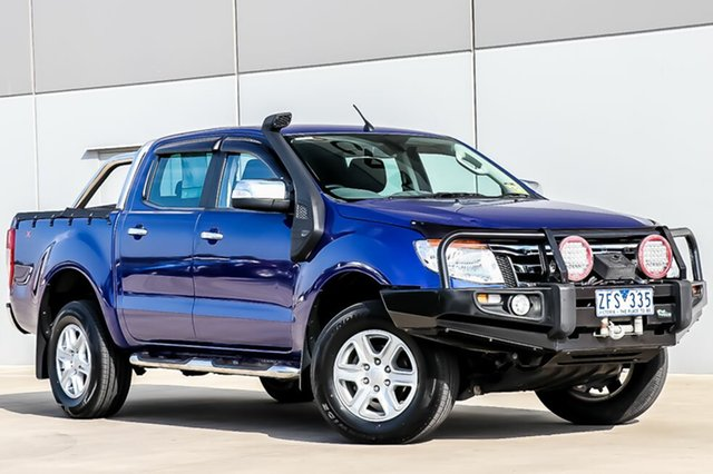 Used Ford Ranger PX XLT Double Cab, 2012 Ford Ranger PX XLT Double Cab Aurora Blue 6 Speed Sports Automatic Utility