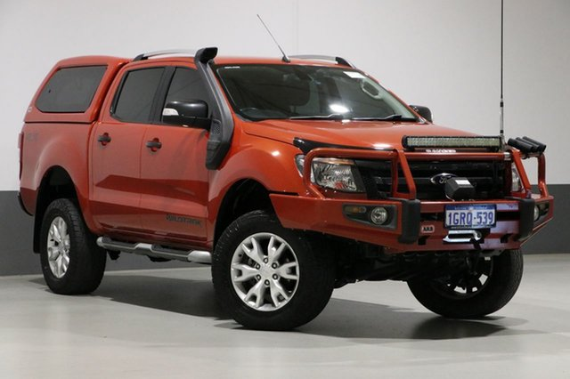 Used Ford Ranger PX Wildtrak 3.2 (4x4), 2014 Ford Ranger PX Wildtrak 3.2 (4x4) Orange 6 Speed Automatic Crew Cab Utility