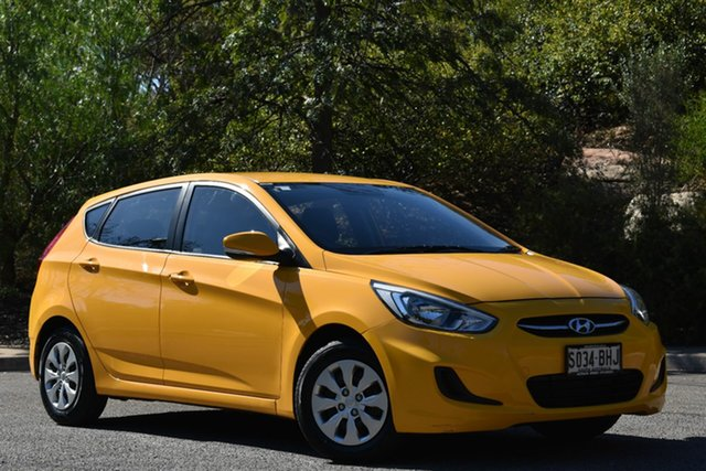 Used Hyundai Accent RB2 MY15 Active, 2015 Hyundai Accent RB2 MY15 Active Yellow 4 Speed Sports Automatic Hatchback